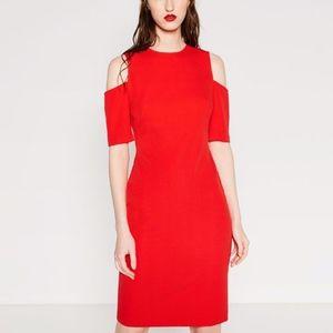 Zara Woman Cold Shoulder Midi Dress
